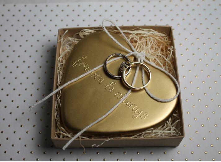 Gilded heart wedding ring bearer alternative