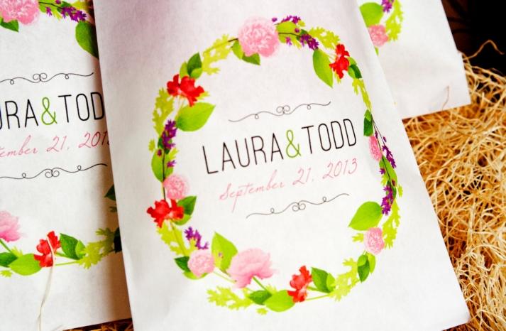 romantic floral wedding favor bags