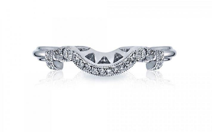 Diamond contour wedding band in Platinum by Tacori