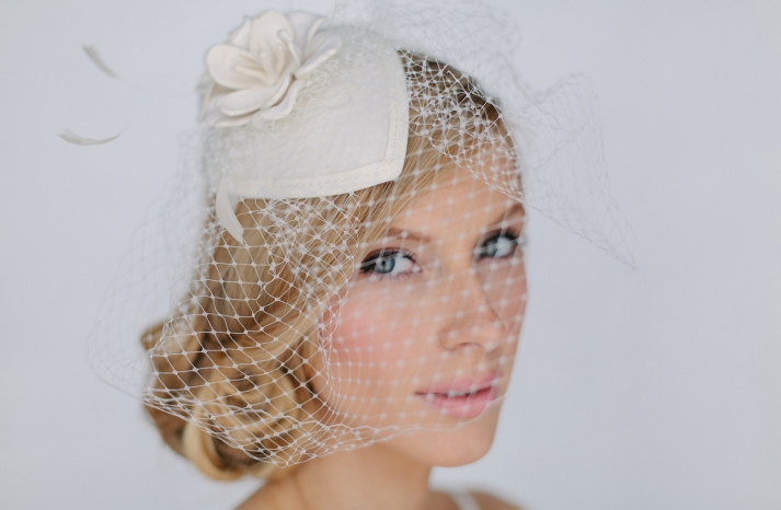 Vintage inspired wedding hat with veil
