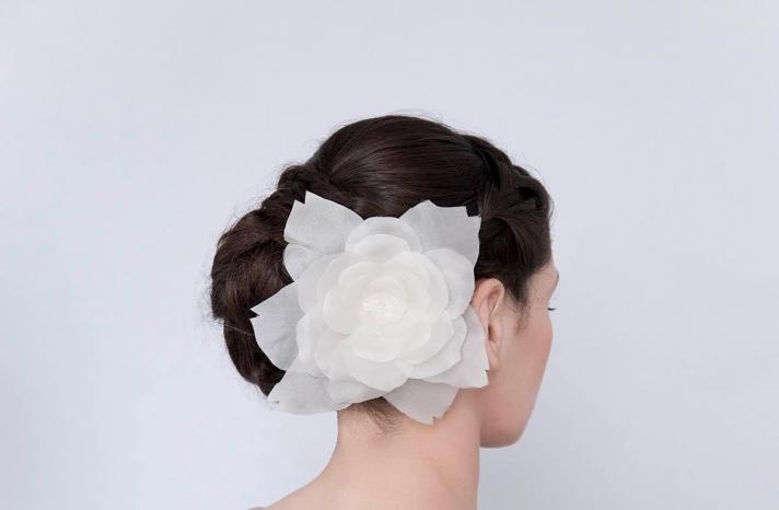 Celeste organza wedding hair flower