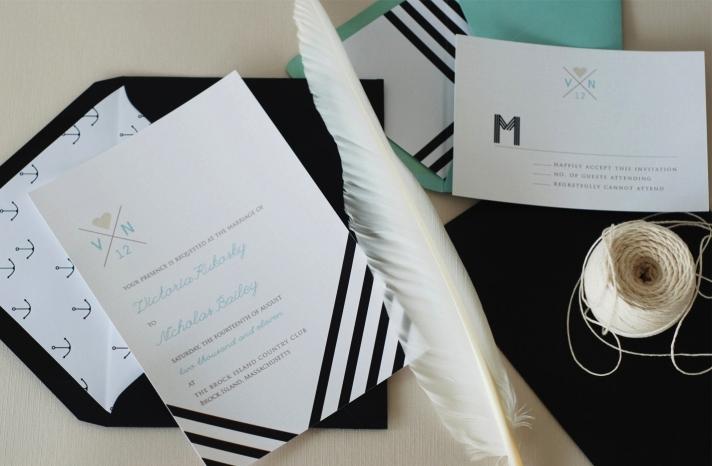Chevron stripes elegant wedding invitations
