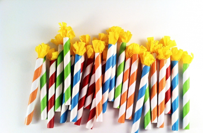 Colorful striped wedding cupcake toppers