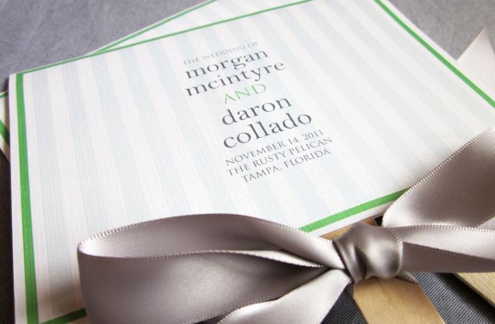 Green apple and gray fan wedding programs