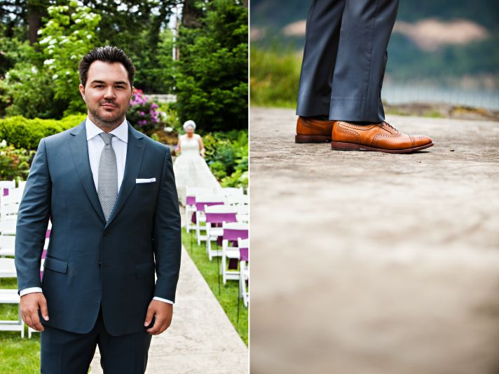 Dapper groom in navy blue suit