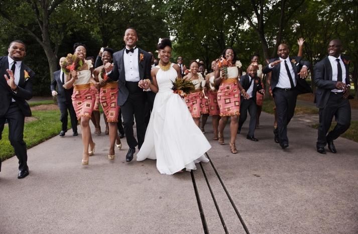 Awesome Chicago wedding photographers Studio This Is ethnic print bridesmaid dresses
