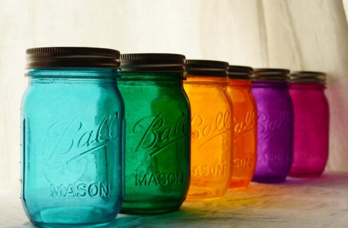 Stained glass mason jar wedding decor
