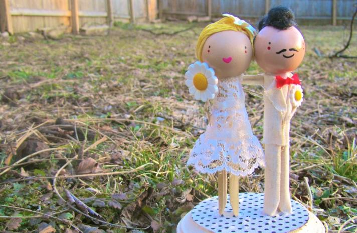 Handmade hipster wedding cake topper