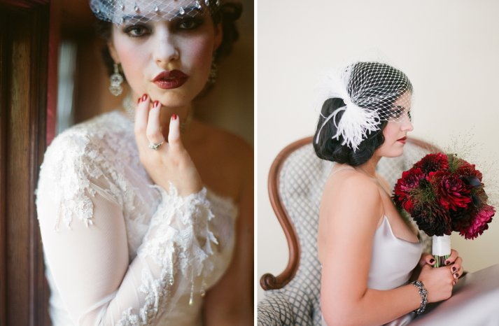 Great Gatsby inspired bride headpiece and flowers 2