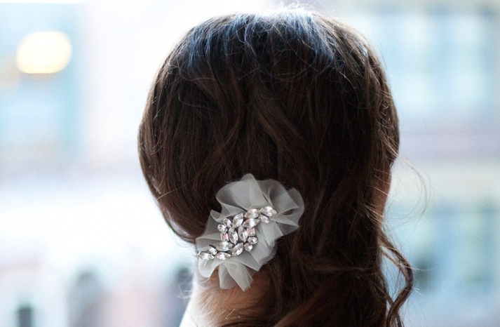 ruffled tulle with crystals bridal barrett