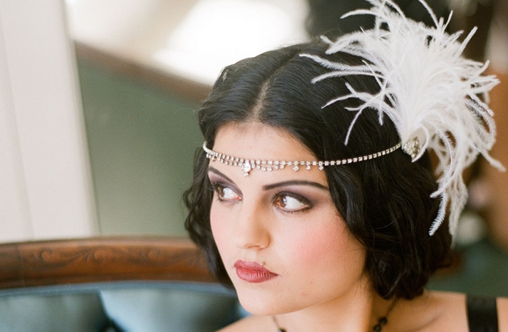 crystal bridal tiara with feather fascinator