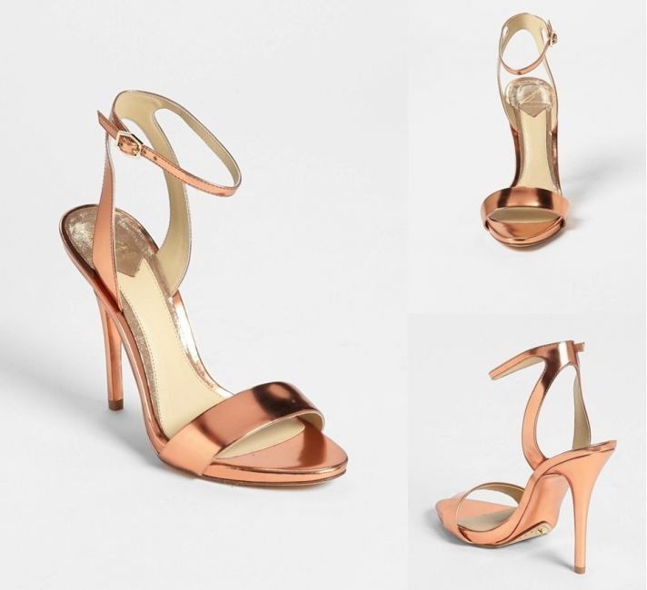 Rose gold strappy wedding shoes 2