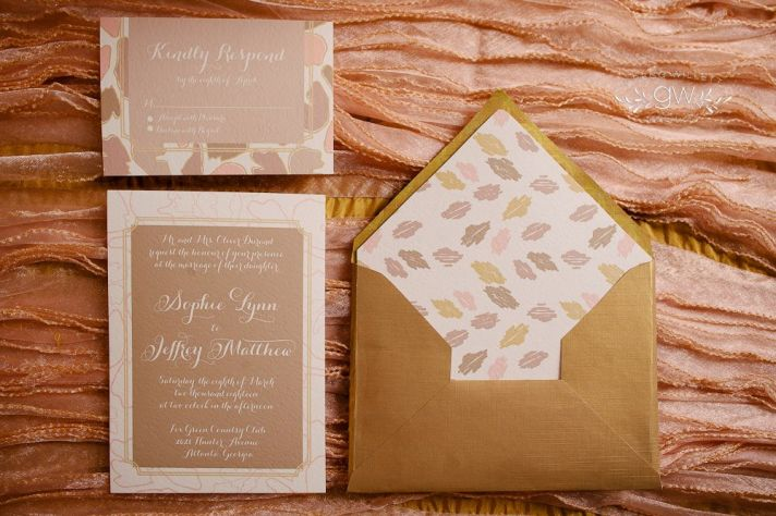 Nature inspired rose gold and ivory wedding invitations