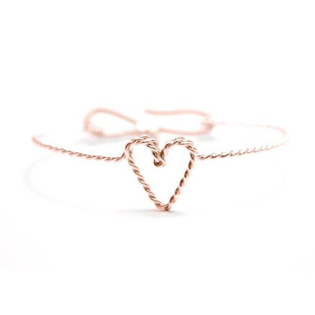 Rose gold heart bracelets for bridesmaids