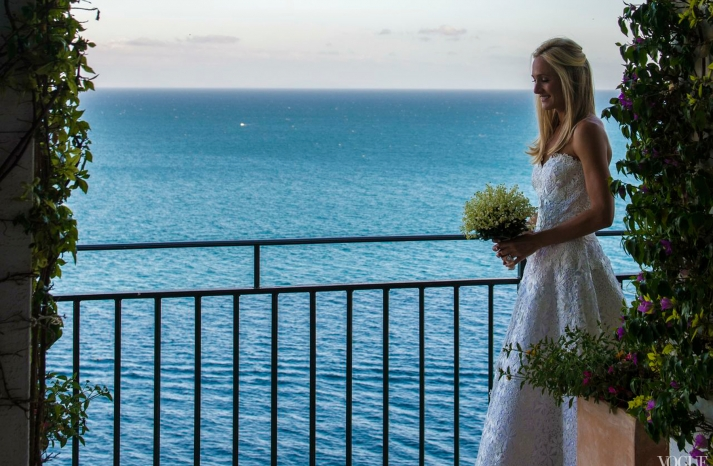 Amalfi coast wedding elegant beach bride