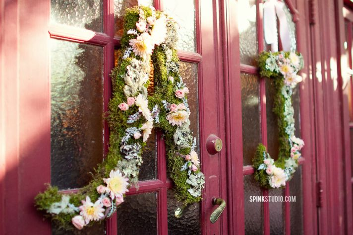 Whimsical moss and floral wedding initials