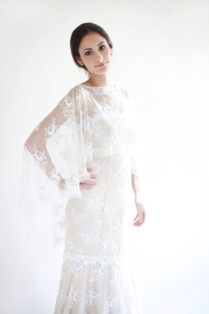 Sheer lace cape to wear over the wedding dress