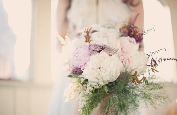 Oversized peony bridal bouquet
