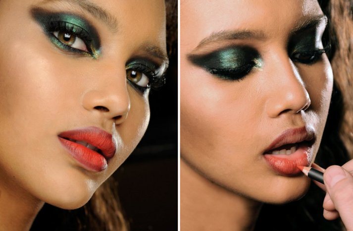 Deep emerald green wedding eye shadow with red lips