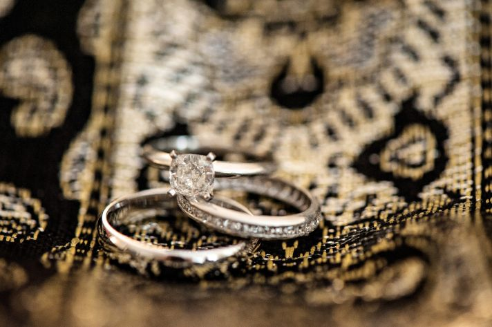 Classic engagement ring with wedding bands photo for Florida bride and groom