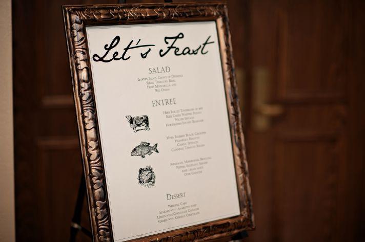 Framed wedding menu at florida reception