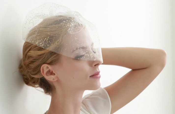 Tulle birdcage veil with gold glitter