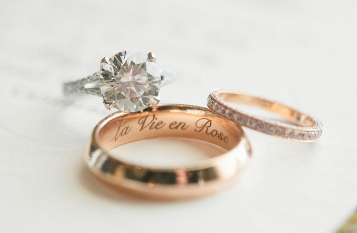 Beautiful engagement ring wedding bands photo rose gold and platinum