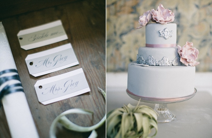 Silver and pink wedding cake calligraphied escort cards