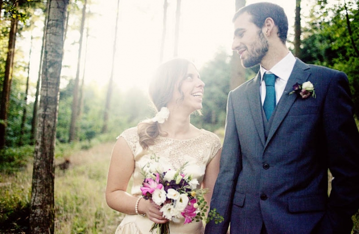 Glamping wedding bride and groom outdoor portraits
