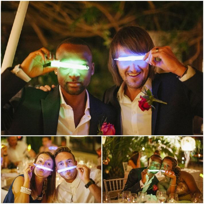 Fun wedding favors glow sticks for the reception