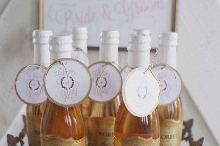 Mini Korbel bottles as wedding guest favors