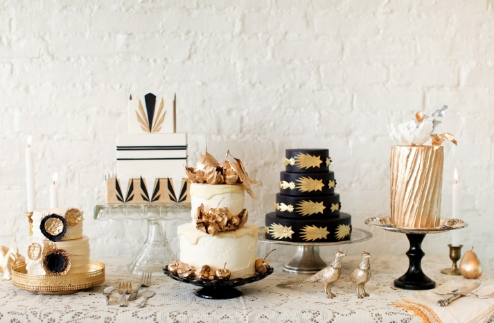 Gold black and white wedding cakes for vintage weddings