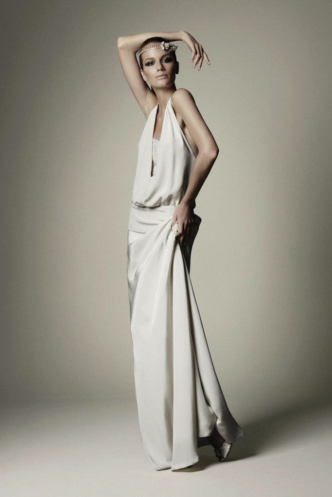ivory crepe wedding dress for Grecian inspired brides