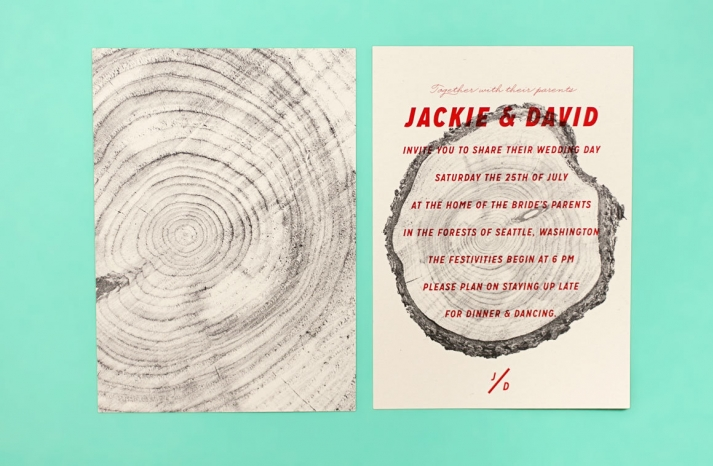 wood grain wedding invitation for offbeat couples