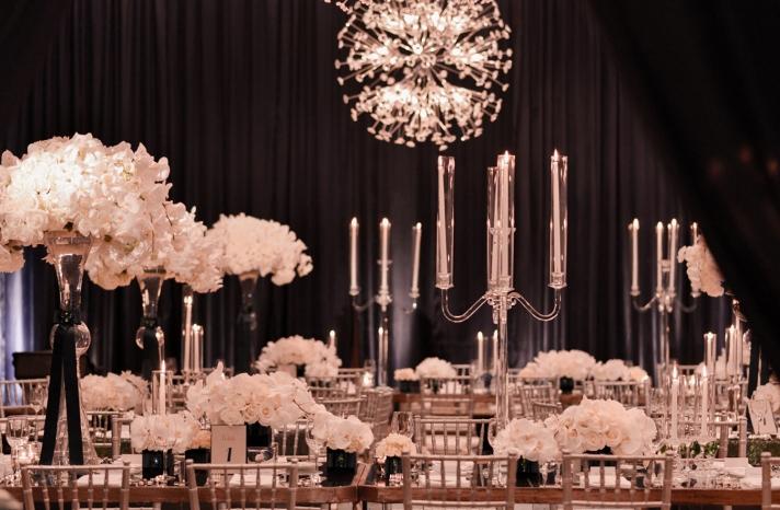 black and white glamorous wedding reception