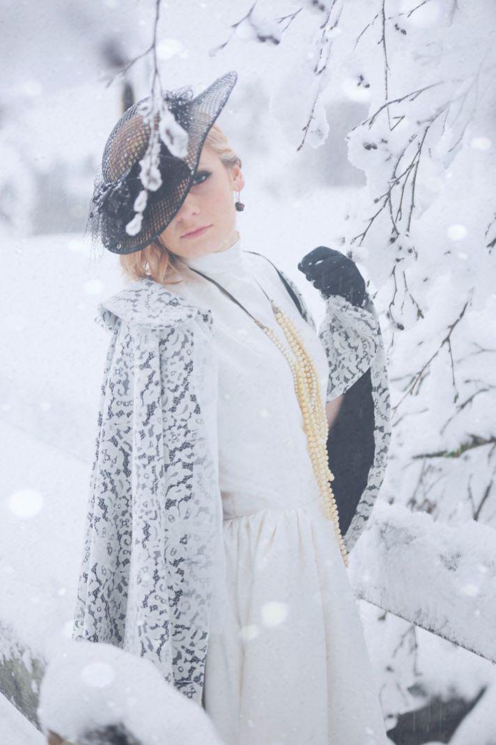 white lace over black wedding cape