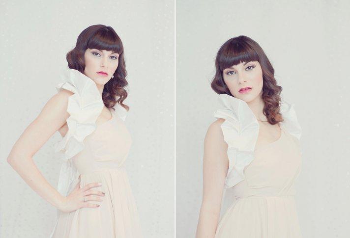 white ruffled silk wedding caplet