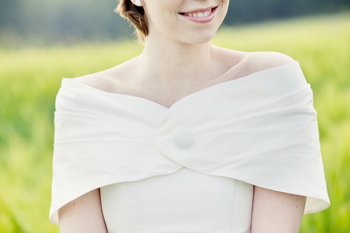 Simple silk bridal stole with button closure