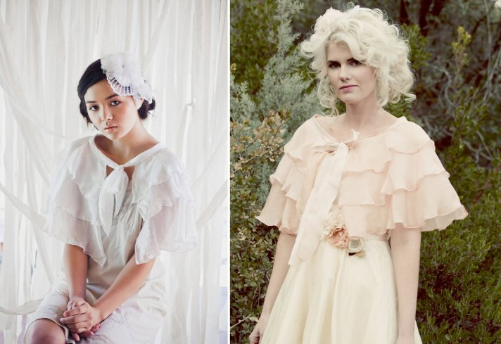 ruffled bridal capes in blush and white