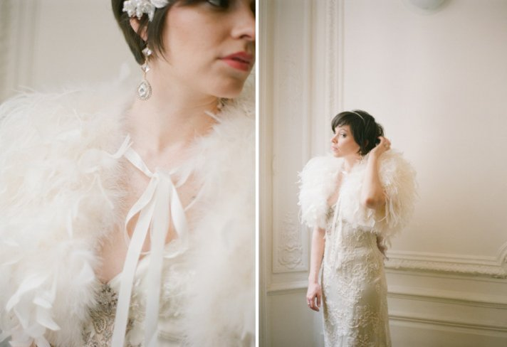 Pale peach feather bridal cape