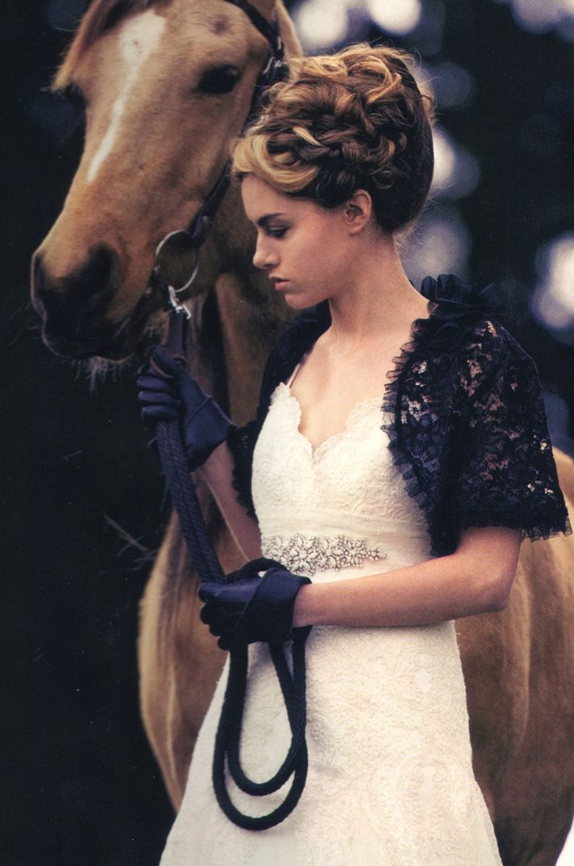black lace bridal caplet