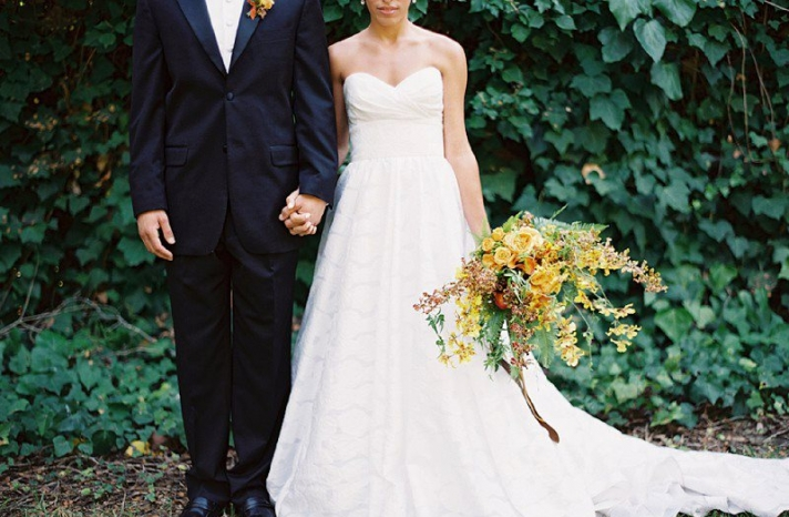 Dramatic fall bridal bouquet with golden yellow and rust blooms2