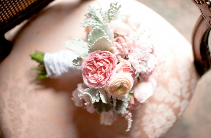 Dreamy pink peony and lambs ear wedding bouquet