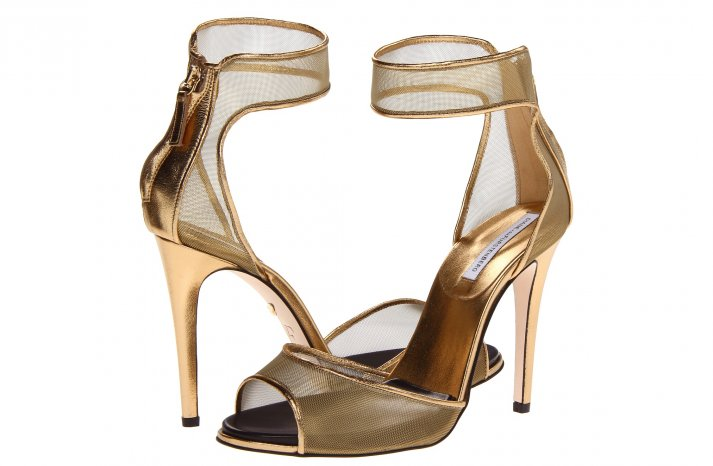 Glamorous gold wedding shoes DVF mesh