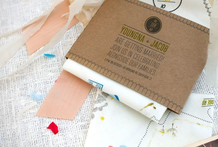 illustrated hankie wedding invitations