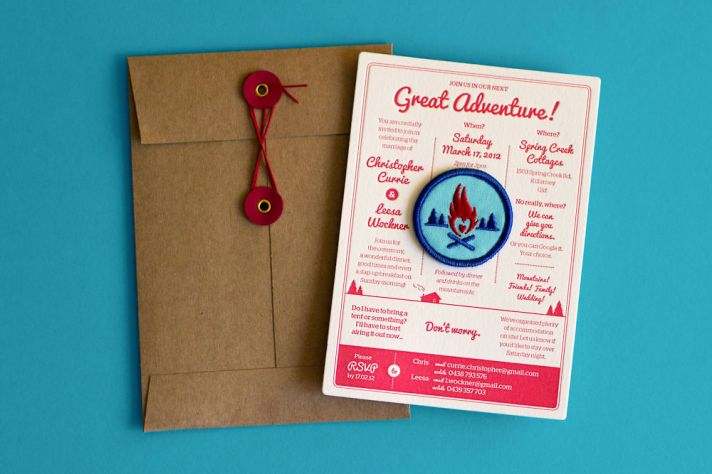 Letterpress Great Adventure wedding invitations