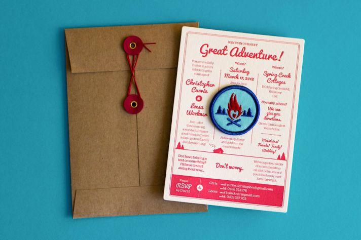 Letterpress Great Adventure wedding invitations