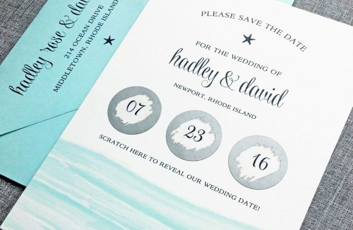 elegant beach scratch off wedding invitation