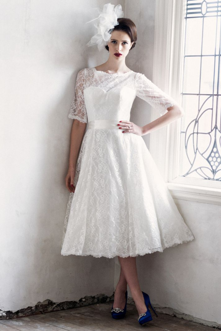 Lace Nora wedding dress with tea length hem and 3 quarter sleeves
