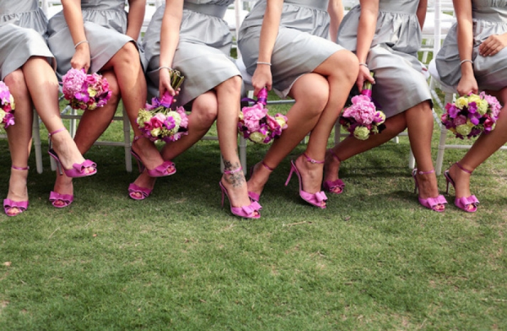 bright orchid purple bridesmaid shoes